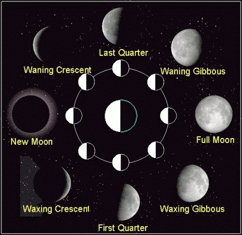 Entstehung der Mondphasen (Courtesy of NASA)