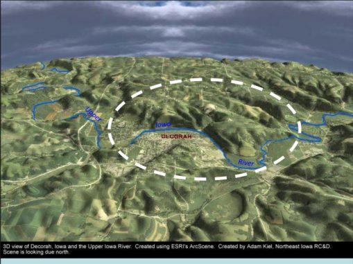 3D-Ansicht des Decorah-Einschlagkraters. (Adam Kiel, Northeast Iowa RC & D)