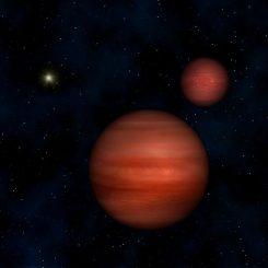 Künstlerische Darstellung des aus zwei Braunen Zwergen bestehenden Binärsystems WISE J104915.57-531906 mit der Sonne im Hintergrund. (Janella Williams, Penn State University)