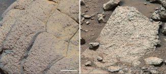 """Dieser Bildvergleich zeigt Gestein, das von den NASA-Rovern Opportunity und Curiosity an zwei verschiedenen Orten auf dem Mars untersucht wurde. Links ist der Felsen """"Wopmay"""" im Endurance-Krater in der Region Meridiani Planum zu sehen, aufgenommen von Opportunity. Rechts sieht man die """"Sheepbed""""-Felsen in der Yellowknife Bay im Gale-Krater, aufgenommen von Curiosity. (NASA / JPL-Caltech / Cornell / MSSS)"""