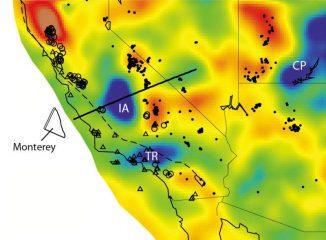 Die Isabella-Anomalie (IA, oben) liegt in derselben Tiefe wie andere Fragmente der Farallon-Platte unter Oregon und Washington und befindet sich auf einer Linie mit Fragmenten vor der kalifornischen Küste. (Forsyth lab / Brown University)