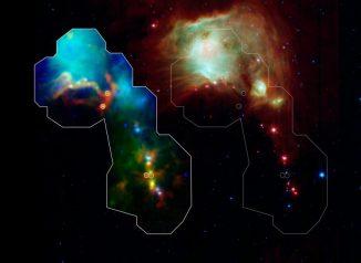 Links ist die Region um den Nebel Messier 78 abgebildet, basierend auf Daten des Weltraumobservatoriums Herschel, des Spitzer Space Telescope und des APEX-Teleskops in Chile. Die Kreise markieren die neu entdeckten Protosterne in ihren Gashüllen. Rechts ist dieselbe Region zu sehen, wie sie nur von Spitzer beobachtet wurde. Hier sind die Protosterne nicht sichtbar. (NASA / ESA / ESO / JPL-Caltech / Max-Planck Institute for Astronomy)