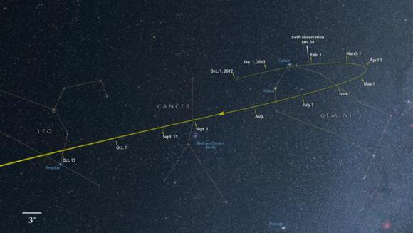 Von jetzt bis Oktober bewegt sich der Komet ISON durch die Sternbilder Gemini (Zwillinge), Cancer (Krebs) und Leo (Löwe). (NASA / Goddard Space Flight Center / Axel Mellinger)