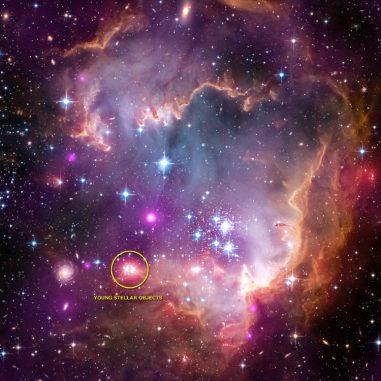 Junge stellare Objekte im Sternhaufen NGC 602a in der Kleinen Magellanschen Wolke. (X-ray: NASA / CXC / Univ. Potsdam / L. Oskinova et al; Optical: NASA / STScI; Infrared: NASA / JPL-Caltech)