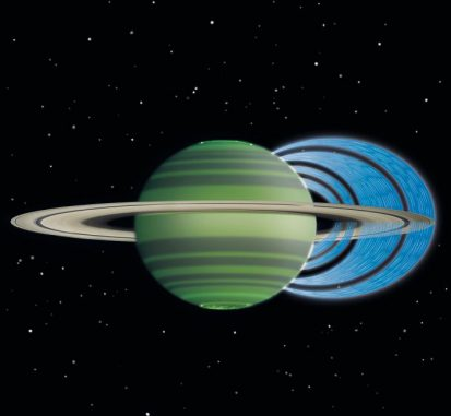 Diese künstlerische Darstellung verdeutlicht, wie geladene Wasserteilchen aus den Ringen in die Atmosphäre Saturns hinabregnen und eine Verringerung der atmosphärischen Helligkeit bewirken. (NASA / JPL-Caltech / Space Science Institute / University of Leicester)