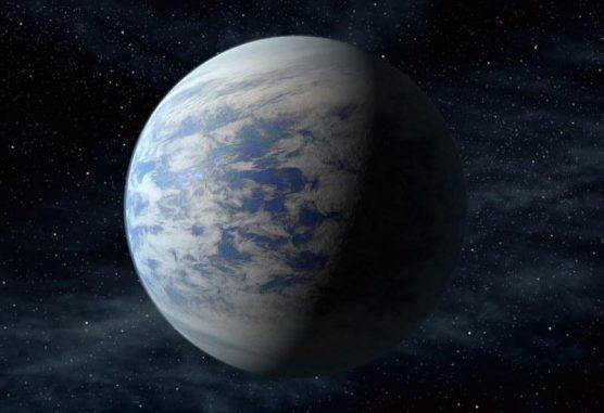 Künstlerische Darstellung des Exoplaneten Kepler-69c - eine sogenannte Supererde, die sich in der habitablen Zone um einen sonnenähnlichen Stern befindet. (NASA Ames / JPL-Caltech)