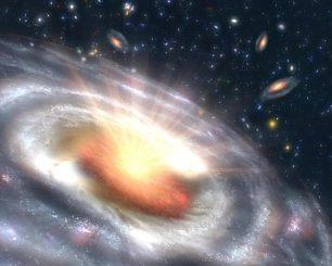 Diese künstlerische Darstellung zeigt die Wechselwirkungen eines supermassiven Schwarzen Lochs mit einer umgebenden Akkretionsscheibe im Zentrum einer entfernten Galaxie - einen sogenannten Quasar. Dabei entsteht Strahlung in verschiedenen Wellenlängen, darunter auch optisches Licht und Radioemissionen. (SLAC National Accelerator Laboratory)
