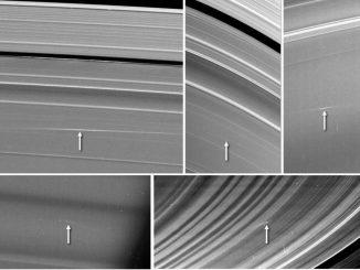 Die Pfeile markieren Trümmerwolken, die von Meteoroiden-Einschlägen in die Saturnringe verursacht wurden. Oben links und in der Mitte ist eine Wolke im A-Ring zu sehen. Die Bilder oben rechts und unten links zeigen Trümmerwolken im C-Ring. Die Trümmerwolke im unteren rechten Bild befindet sich im B-Ring. (NASA / JPL-Caltech / Space Science Institute / Cornell)