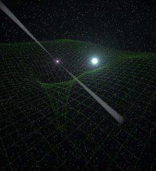 Künstlerische Darstellung des Binärsystems PSR J0348+0432. Der kleine Neutronenstern ist deutlich massereicher als sein begleitender Weißer Zwerg. Das grüne Gitter veranschaulicht die Krümmung der Raumzeit, die von der Masse und Schwerkraft dieser Objekte verursacht wird. (Antoniadis, et al.)