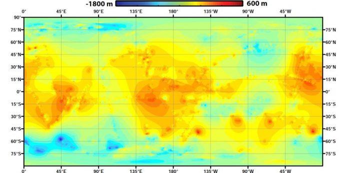 Die erste globale topografische Karte des Saturnmondes Titan. (NASA / JPL-Caltech / ASI / JHUAPL / Cornell / Weizmann)