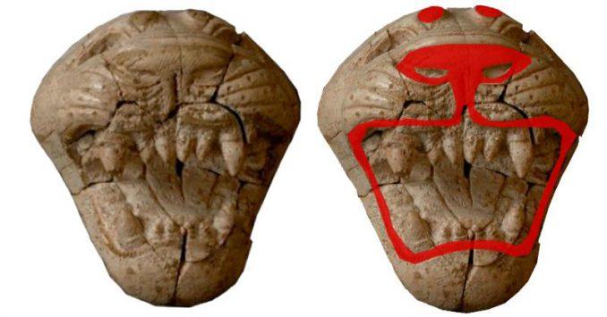 Antike phönizische Elfenbein-Schnitzereien wie dieser Löwenkopf sehen heute farblos aus (links), aber vor 2.800 Jahren waren sie mit leuchtenden Farben verziert (rechts). (American Chemical Society)