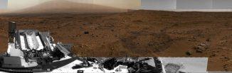 Ein Ausschnitt des Panoramabildes von der Marsoberfläche, aufgenommen vom Marsrover Curiosity (kleinere Version; die Website mit der Originalversion ist im Text verlinkt). (NASA / JPL-Caltech / MSSS)