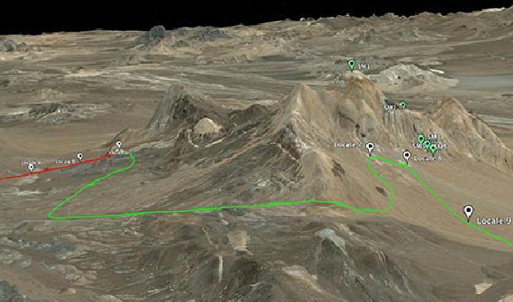 Die geplante Wegstrecke des Rovers in der Atacama-Wüste führt ihn an vulkanischen Abhängen und Schwemmfächern vorbei. (Google Earth)