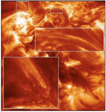 Hi-C-Aufnahme einer aktiven, magnetisch komplexen Region auf der Sonne. Sie zeigt Plasma in der äußeren Sonnenatmosphäre, das ein bis zwei Millionen Grad Celsius heiß ist. Das Bild unten links zeigt das beobachtete Funkeln. (NASA MSFC and UCLan)