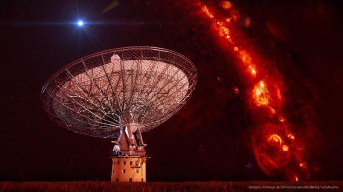 Diese künstlerische Darstellung zeigt das Parkes-Radioteleskop vor dem Radiowellen-Hintergrund. Rechts ist die Strahlung der galaktischen Ebene zu sehen, der helle Punkt links über dem Teleskop markiert einen Radioausbruch. (Swinburne Astronomy Productions / Hintergrundbild: CfA / Harvard University)