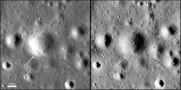 Das Gebiet um den Surveyor-Krater, aufgenommen vom Lunar Reconnaissance Orbiter (LRO) (links) und vom Lunar Orbiter 3 (rechts). (NASA / Goddard / Arizona State University)