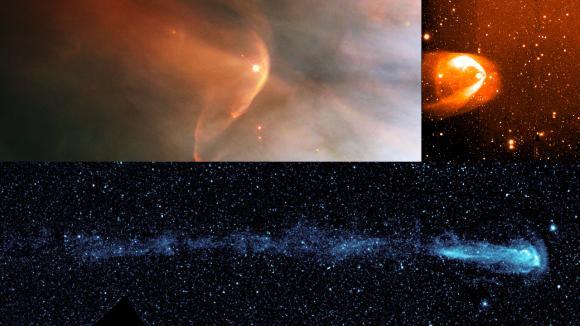 Auch andere Sterne besitzen einen Schweif. Die drei Bilder zeigen die Schweife der Sterne LL Orionis (oben links), BZ Camelopardalis (oben rechts) und Mira (unten). (NASA / HST / R.Casalegno / GALEX)
