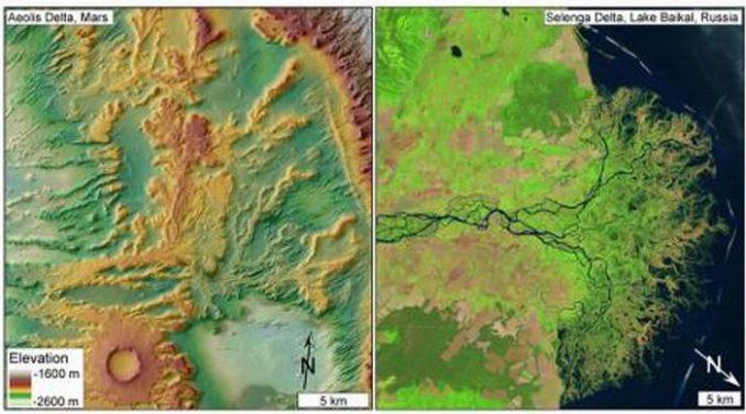 Vergleich des untersuchten Deltas in Sedimentgesteinen auf dem Mars (links) mit einem heutigen Delta auf der Erde (rechts). Die langen, verästelten Hangstrukturen auf dem linken Bild werden als invertierte Kanalablagerungen eines frühzeitlichen Deltas interpretiert. (DiBiase et al. / Journal of Geophysical Research / 2013 and USGS / NASA Landsat)