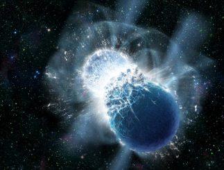 Diese künstlerische Darstellung zeigt zwei Neutronensterne im Moment der Kollision. Neue Beobachtungen bestätigen, dass kollidierende Neutronensterne kurze Gammastrahlenausbrüche erzeugen. Solche Kollisionen produzieren seltene schwere Elemente, darunter Gold. (Dana Berry, SkyWorks Digital, Inc.)