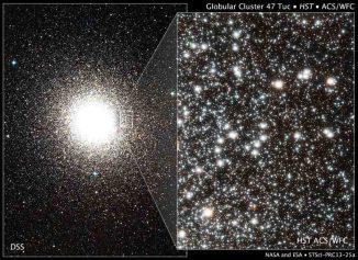 Das linke Bild zeigt den Kugelsternhaufen 47 Tucanae in seiner Gesamtheit. Auf dem rechten Bild sind tausende Einzelsterne innerhalb des Kugelsternhaufens zu erkennen. (NASA, ESA, Digitized Sky Survey (DSS; STScI / AURA / UKSTU / AAO), H. Richer and J. Heyl (University of British Columbia), and J. Anderson and J. Kalirai (STScI))