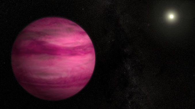Künstlerische Illustration des neu entdeckten Exoplaneten GJ 504b. Er leuchtet in einem dunklen Magenta und besitzt die vierfache Masse des Jupiter, was ihn zum masseärmsten Planeten macht, der bislang direkt um einen sonnenähnlichen Stern abgebildet wurde. (NASA / Goddard Space Flight Center / S. Wiessinger)