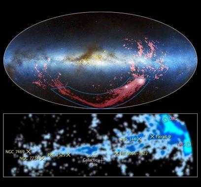Das obere Bild kombiniert Radio- und optische Wellenlängen und zeigt den Gasstrom in pinken Farbtönen. Das untere Bild wurde in Radiowellenlängen aufgenommen und zeigt eine Nahaufnahme des Magellanschen Stroms. (Radio / visible light image: David L. Nidever, et al., NRAO / AUI / NSF and Mellinger, LAB Survey, Parkes Observatory, Westerbork Observatory, and Arecibo Observatory; Radio image: LAB Survey)