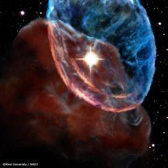 Illustration der Ausbreitung von Schockwellen des Supernova-Überrests W44 in der benachbarten Riesenmolekülwolke. (Image courtesy of Keio University / National Astronomy Observatory of Japan)