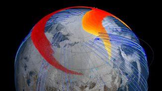 Die Ausbreitung der Staubwolke des Tscheljabinsk-Meteoroiden auf der Nordhalbkugel. (NASA Goddards Scientific Visualization Studio)