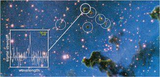 Astronomen haben herausgefunden, dass kleine, runde, dunkle Wolken (Globuletten) die richtigen Eigenschaften besitzen, um ungebundene Planeten zu bilden. Der Graph zeigt das Spektrum einer Globulette, das mit dem 20-Meter-Teleskop des Onsala Space Observatory gemacht wurde. Radiowellen von Kohlenmonoxid-Molekülen geben Informationen über die Masse und Struktur dieser Wolken. (ESO / M. Mäkelä)