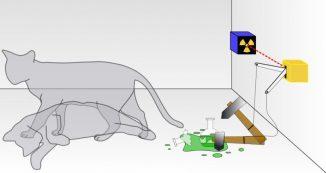 Illustration von Schrödingers Gedankenexperiment. Der radioaktive Zerfall eines Kerns setzt Gift frei, das die Katze in einer verschlossenen Kiste tötet. Quantenmechanisch betrachtet ist die Katze gleichzeitig tot und lebendig, solange das abgeschlossene System nicht mit der Außenwelt interagiert. (Wikipedia / User: Dhatfield / CC-by-SA 3.0)