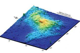 3D-Ansicht des 1.600 Kilometer östlich von Japan gelegenen Tamu-Massivs, dem größten Einzelvulkan der Erde. (William Sager / University of Houston)