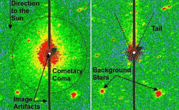 Die Koma und der Schweif von Don Quixote (links), aufgenommen in infraroten Wellenlängen mit dem Spitzer Space Telescope. Nach der Bildbearbeitung (rechts) ist der Schweif besser erkennbar.(Image courtesy NASA / JPL-Caltech / DLR / NAU)