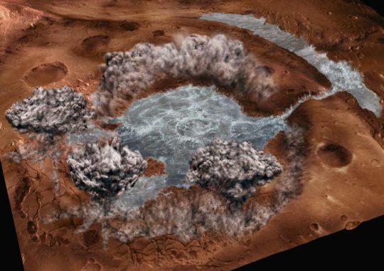Diese künstlerische Darstellung zeigt den Kollaps des Aram-Kraters auf dem Mars. Im rechten Teil ist das Tal erkennbar, das die Wassermassen schufen. (Faculty of Geosciences, Utrecht University)