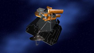 Künstlerische Darstellung der Raumsonde Deep Impact. (NASA / JPL-Caltech)