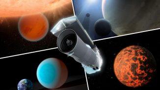 Diese künstlerische Darstellung zeigt das Spitzer Space Telescope und mehrere Exoplaneten, die von ihm untersucht wurden. Die Beobachtung von Exoplaneten wurde erst durch verschiedene Modifikationen möglich gemacht. (NASA / JPL-Caltech)
