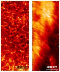 Das rechte Bild ist eine Aufnahme des Sunrise-Teleskops und zeigt eine Region der Chromosphäre in der Nähe zweier Sonnenflecken. Es dient als Nahaufnahme des linken Bildes, das vom Solar Dynamics Observatory (SDO) der NASA gemacht wurde. (NASA / SDO / MPS)