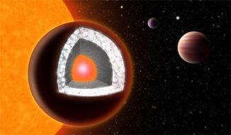 Der Exoplanet 55 Cancri e, eine sogenannte Supererde, wurde für den ersten Exoplaneten gehalten, der größtenteils aus Diamant besteht. Der Grund dafür war das hohe Kohlenstoff-Sauerstoff-Verhältnis seines Zentralsterns. (Illustration: Haven Giguere / Yale University)