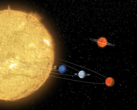 Künstlerische Darstellung des Planetensystems um den Stern 55 Cancri. Rechts im Hintergrund ist das System eines Braunen Zwergs zu sehen, das sich nicht sehr weit entfernt von 55 Cancri befindet. (Illustration: NASA / JPL-Caltech)