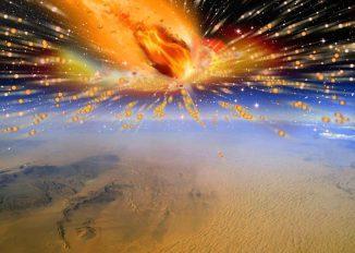 Künstlerische Darstellung des Kometen, der vor circa 28 Millionen Jahren über Ägypten in die Erdatmosphäre eintrat und explodierte. (Illustration: Terry Bakker)