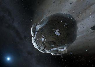 Künstlerische Darstellung eines wasserreichen Asteroiden, der von der starken Gravitation des Weißen Zwergs GD 61 auseinandergerissen wird. Ähnliche Objekte brachten in unserem Sonnensystem das Wasser auf die Erde und dienten als Bausteine für terrestrische Planeten. (Image copyright Mark A. Garlick, space-art.co.uk, University of Warwick and University of Cambridge)