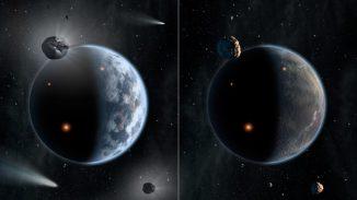 Diese künstlerische Darstellung illustriert das Schicksal zweier unterschiedlicher Planeten: Der Planet links gleicht der Erde und besteht größtenteils aus silikatbasiertem Gestein; Ozeane bedecken seine Oberfläche. Der Planet rechts ist reich an Kohlenstoff - und trocken. Die Wahrscheinlichkeit dafür, dass Leben, wie wir es kennen, unter solch harten Bedingungen gedeihen kann, ist klein. (NASA / JPL-Caltech)