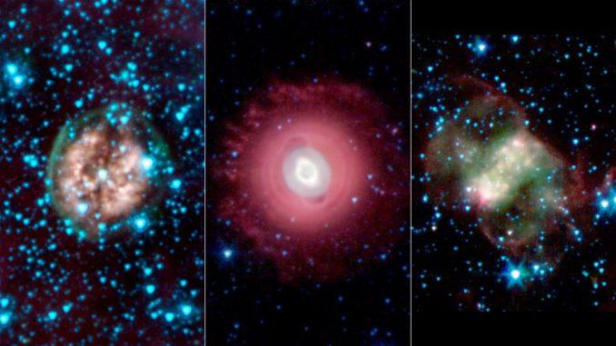 Der Exposed Cranium Nebula (links), der Ghost of Jupiter Nebula (Mitte) und der Little Dumbbell Nebula (rechts). Die Bilder wurden mit dem Spitzer Space Telescope in infraroten Wellenlängen aufgenommen. (NASA / JPL-Caltech / Harvard-Smithsonian CfA)