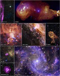 Bildcollage aus acht Objekten, die mit dem Chandra X-ray Observatory im Röntgenbereich beobachtet wurden (Bildbeschreibungen siehe unten). (NASA / CXC / SAO)