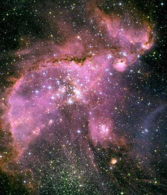 Diese Aufnahme des Weltraumteleskops Hubble zeigt den Sternhaufen NGC 346 in der Kleinen Magellanschen Wolke, etwa 210.000 Lichtjahre von der Erde entfernt. (NASA, ESA and A. Nota (ESA / STScI, STScI / AURA))