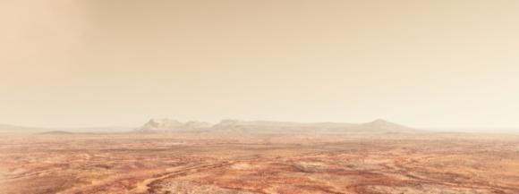 Illustration des heutigen Mars: eine kalte, trockene Wüstenwelt. (Michael Lentz / NASA Goddard Conceptual Image Lab)