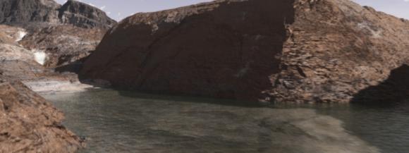 Flüssiges Wasser, das durch einen Canyon des frühzeitlichen Mars fließt. (Michael Lentz / NASA Goddard Conceptual Image Lab)