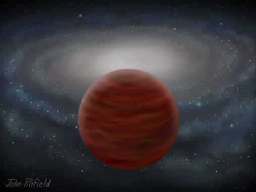Das Bild zeigt die künstlerische Darstellung eines Braunen Zwergs aus der dicken Scheibe oder dem Halo. Die Scheibe der Milchstraßen-Galaxie ist im Hintergrund zu sehen. Obwohl Braune Zwerge in der Nähe des Sonnensystems beobachtet werden, sind viele weit von dem am dichtesten bevölkerten Teil der Galaxie entfernt. (John Pinfield)