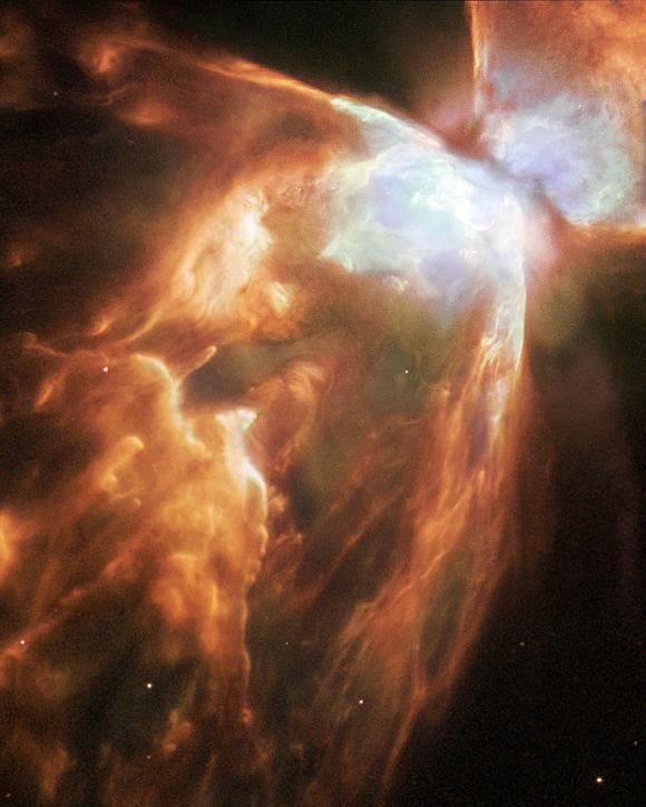 Detailaufnahme des Käfernebels vom Weltraumteleskop Hubble. (ESA / NASA and Albert Zijlstra)