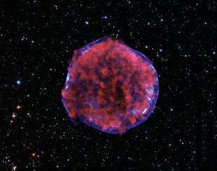 Chandra-Aufnahme des Tycho-Supernova-Überrests. Röntgenstrahlung mit geringer Energie (rot) zeigt expandierende Überreste der Supernova-Explosion und hochenergetische Röntgenstrahlen (blau) zeigen die Schockwelle, eine Hülle aus extrem energiereichen Elektronen. (X-ray: NASA / CXC / Rutgers / K. Eriksen et al.; Optical (starry background): DSS)