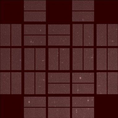 Das zweite Licht des Weltraumteleskops Kepler. Das Bild zeigt das gesamte Blickfeld des Teleskops anlässlich eines Tests Ende Oktober. Ein neues Missionskonzept, K2, würde Keplers Suche nach fremden Welten fortführen. (NASA Ames)